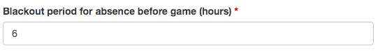 Paramètre de période où un joueur ne peut déclarer son absence.